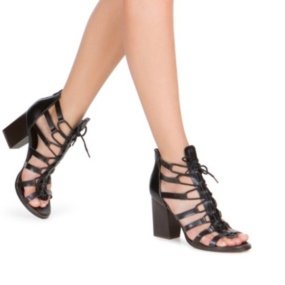 Black Gladiator Lace Up Heels NWT